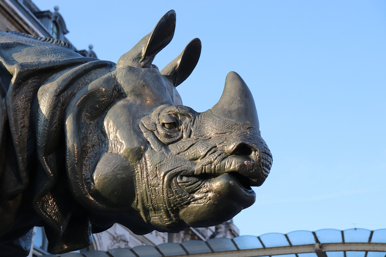 Rhino sculpture outside the Musée d'Orsay in Paris