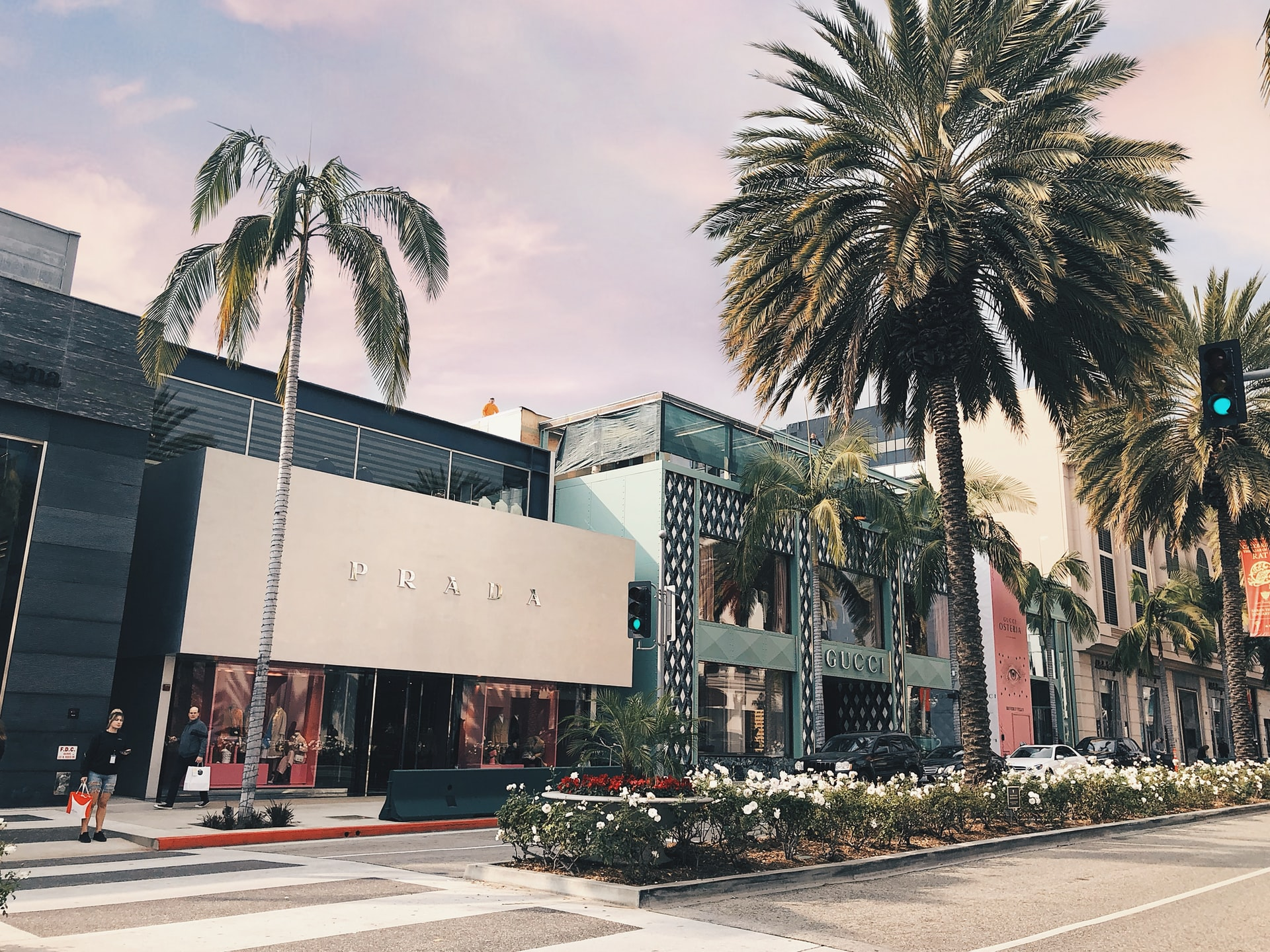 Rodeo Drive stores and trees in Los Angeles
