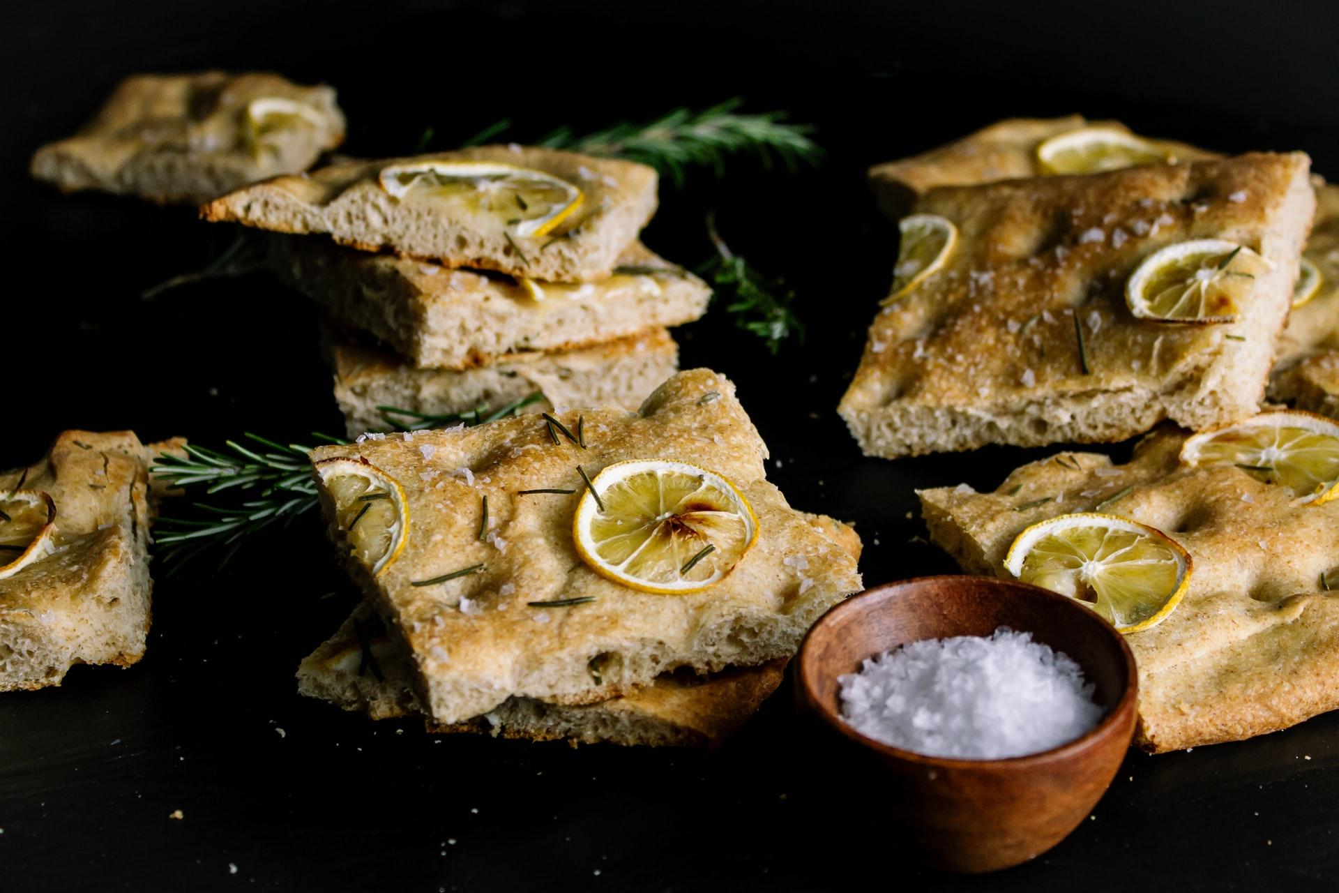 Stacks of rosemary focaccia bread