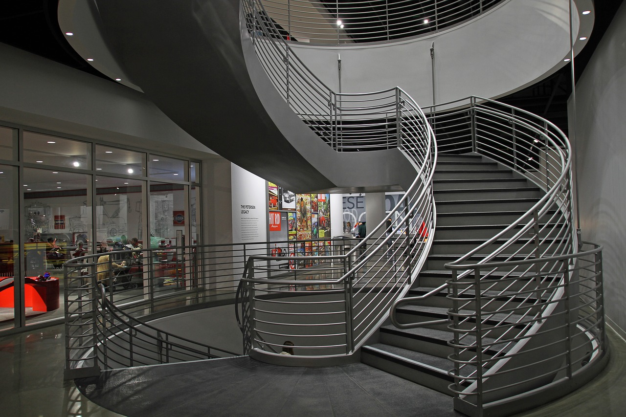 Stairs at the Petersen Automotive Museum in Los Angeles