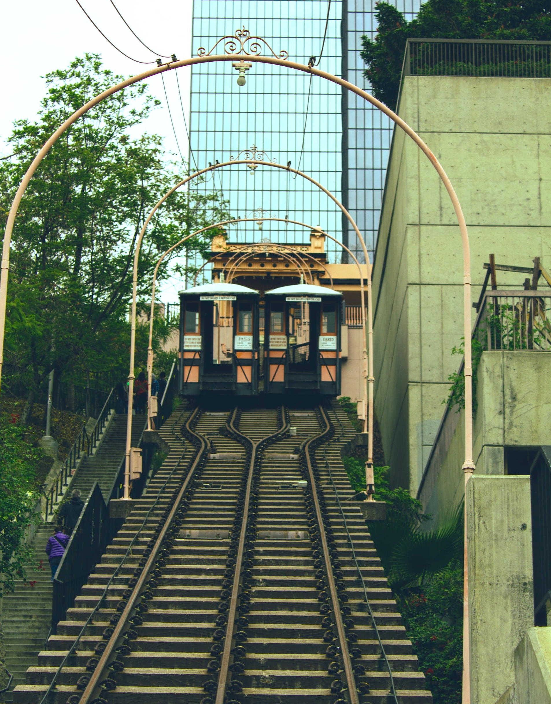 View of the cable cars at Angels Flight