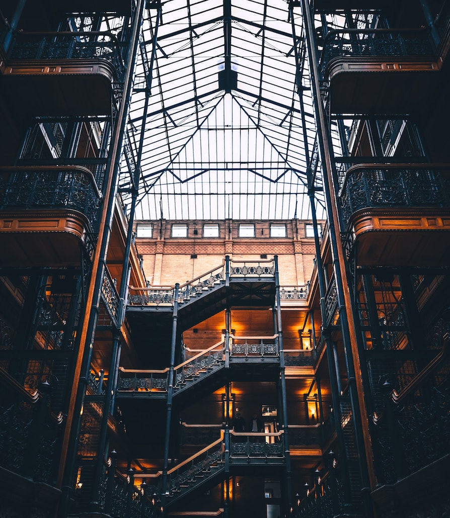 Bradbury Building interior with several floors and staircases shown