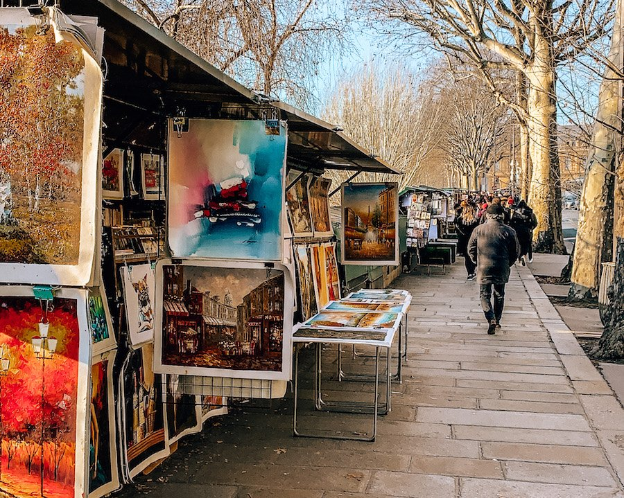 Artwork for sale from vendors lining the River Seine