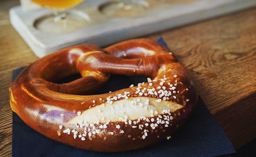 Bavarian pretzel with beer in LA