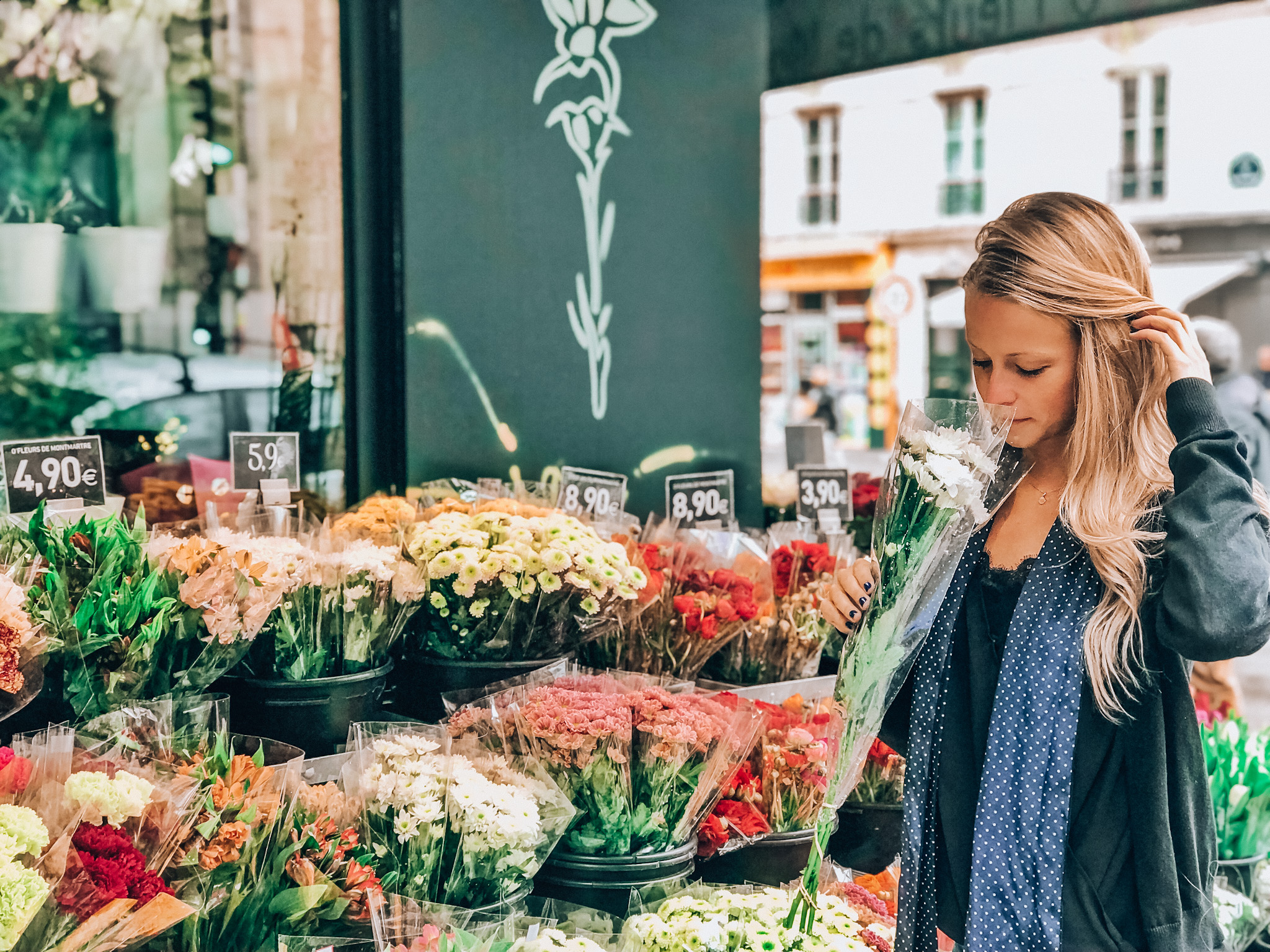 Fresh blooms at a flower shop in Montmartre