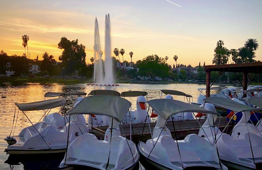 LA sunset at Echo Park Lake