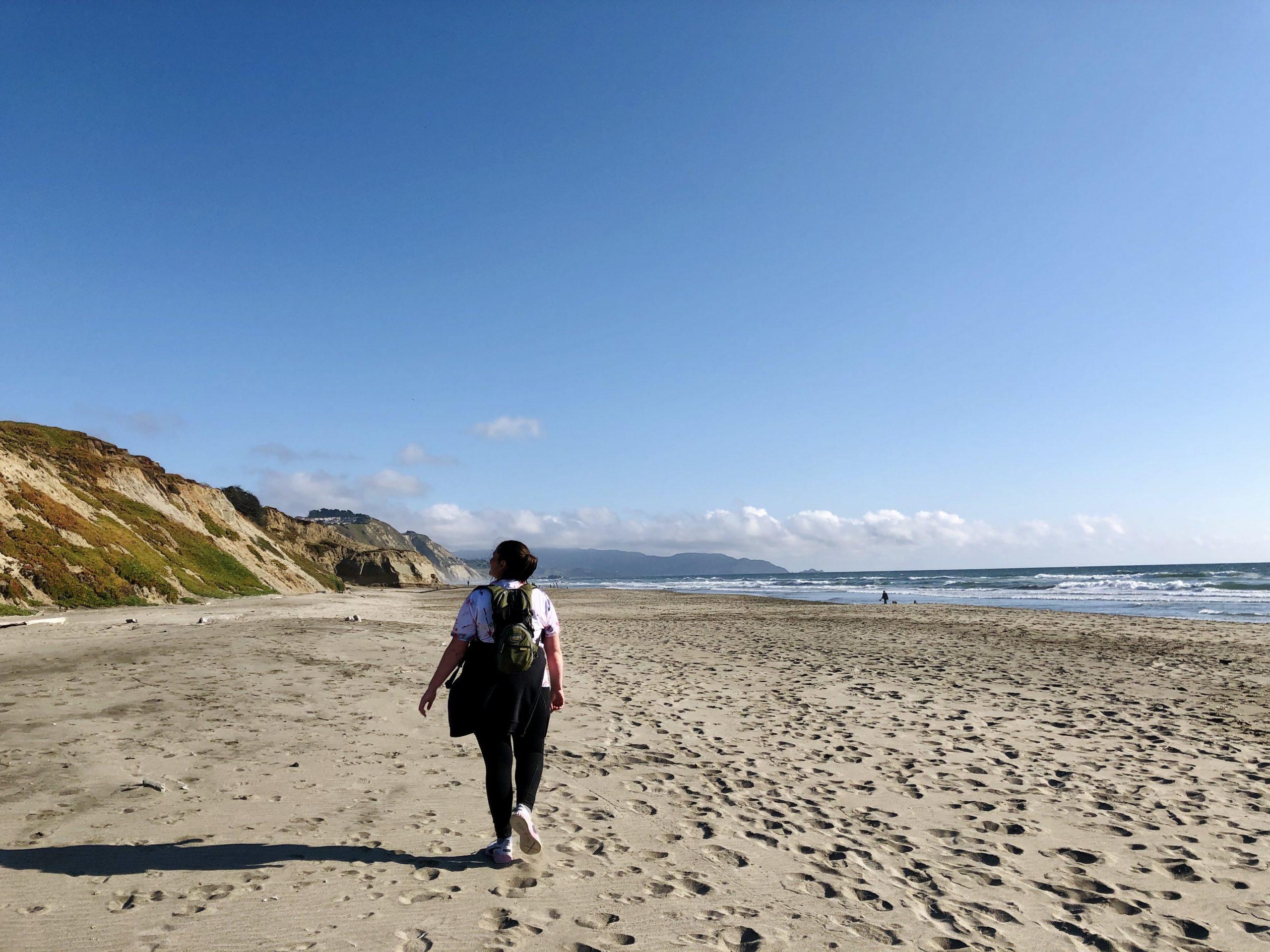 Social distancing on the beach near San Francisco