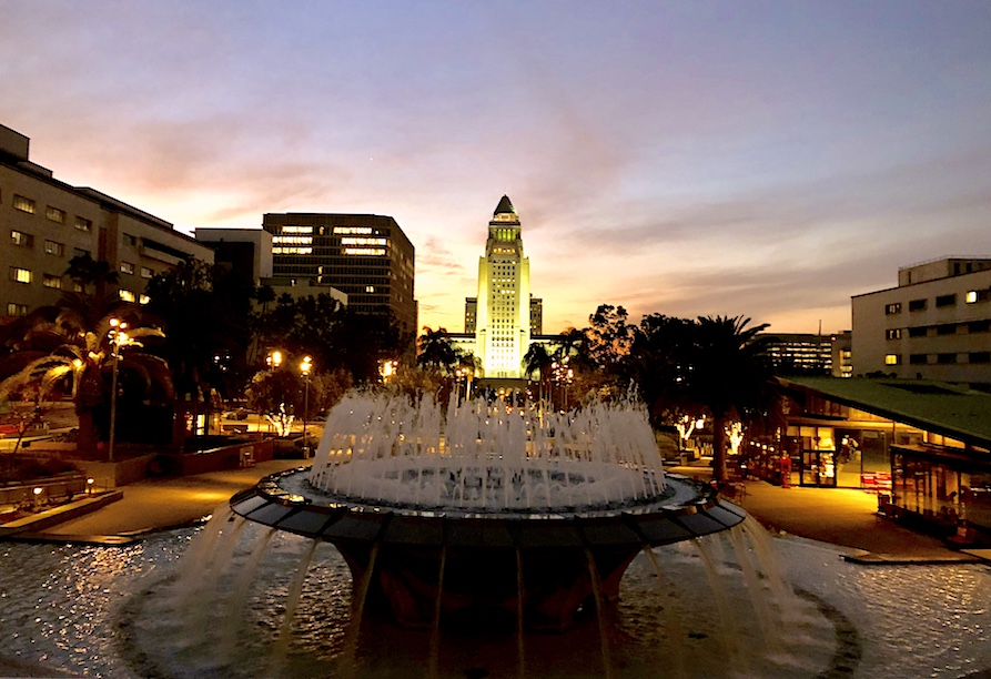 Sunset at Grand Park in LA
