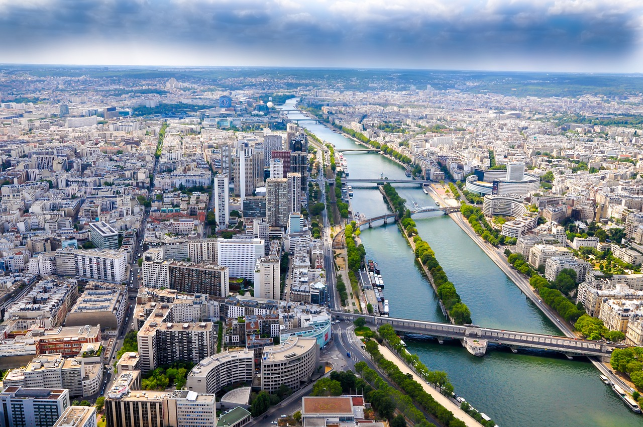 View of the Seine running through Paris from above