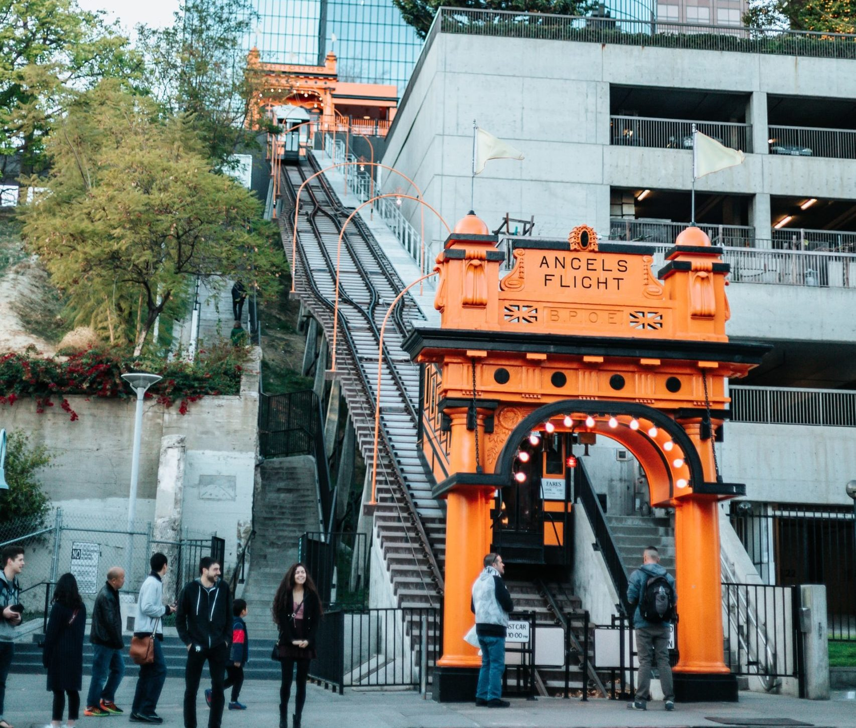 Waiting in line for a railway ride on Angels Flight in Los Angeles