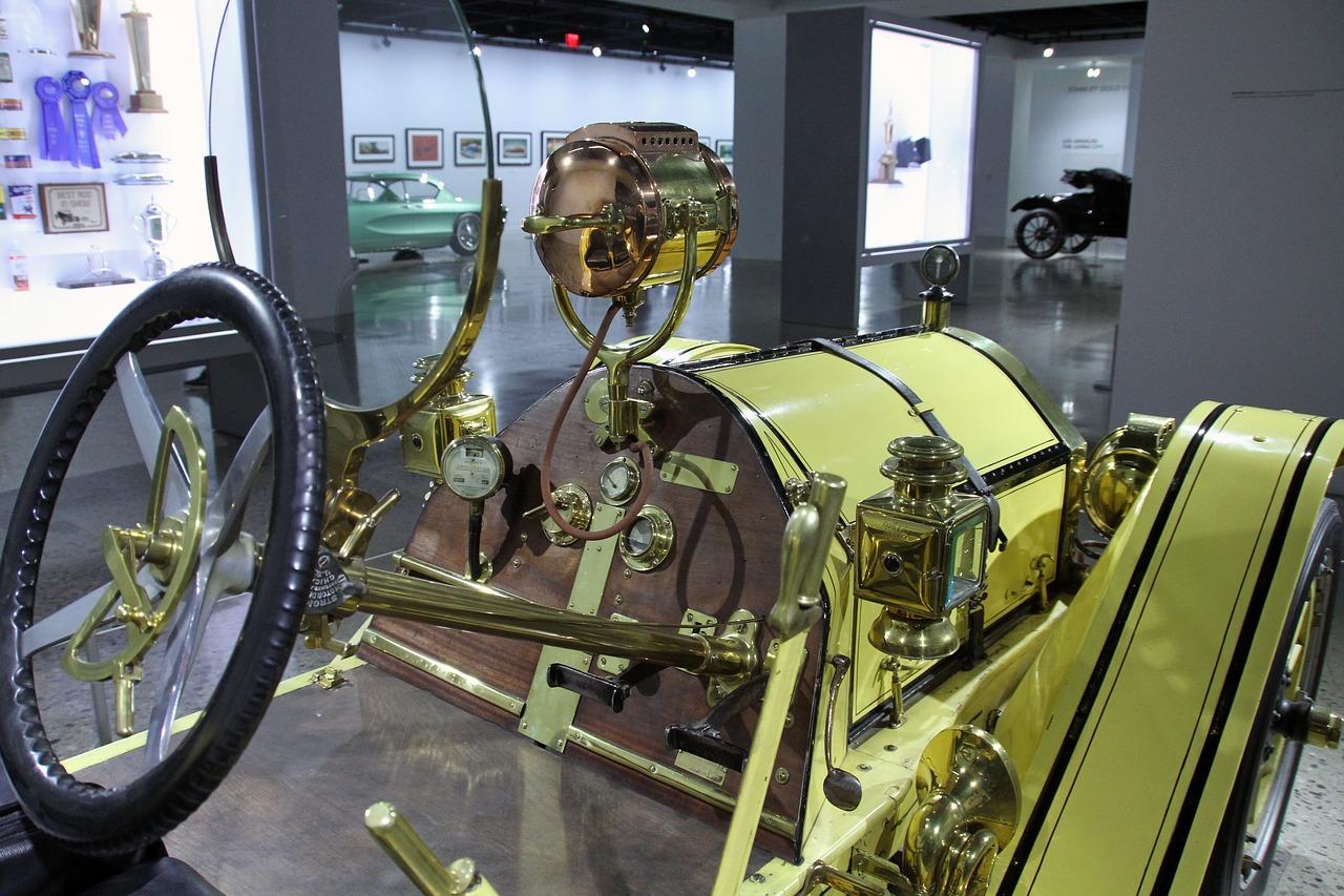 antique car display in LA museum