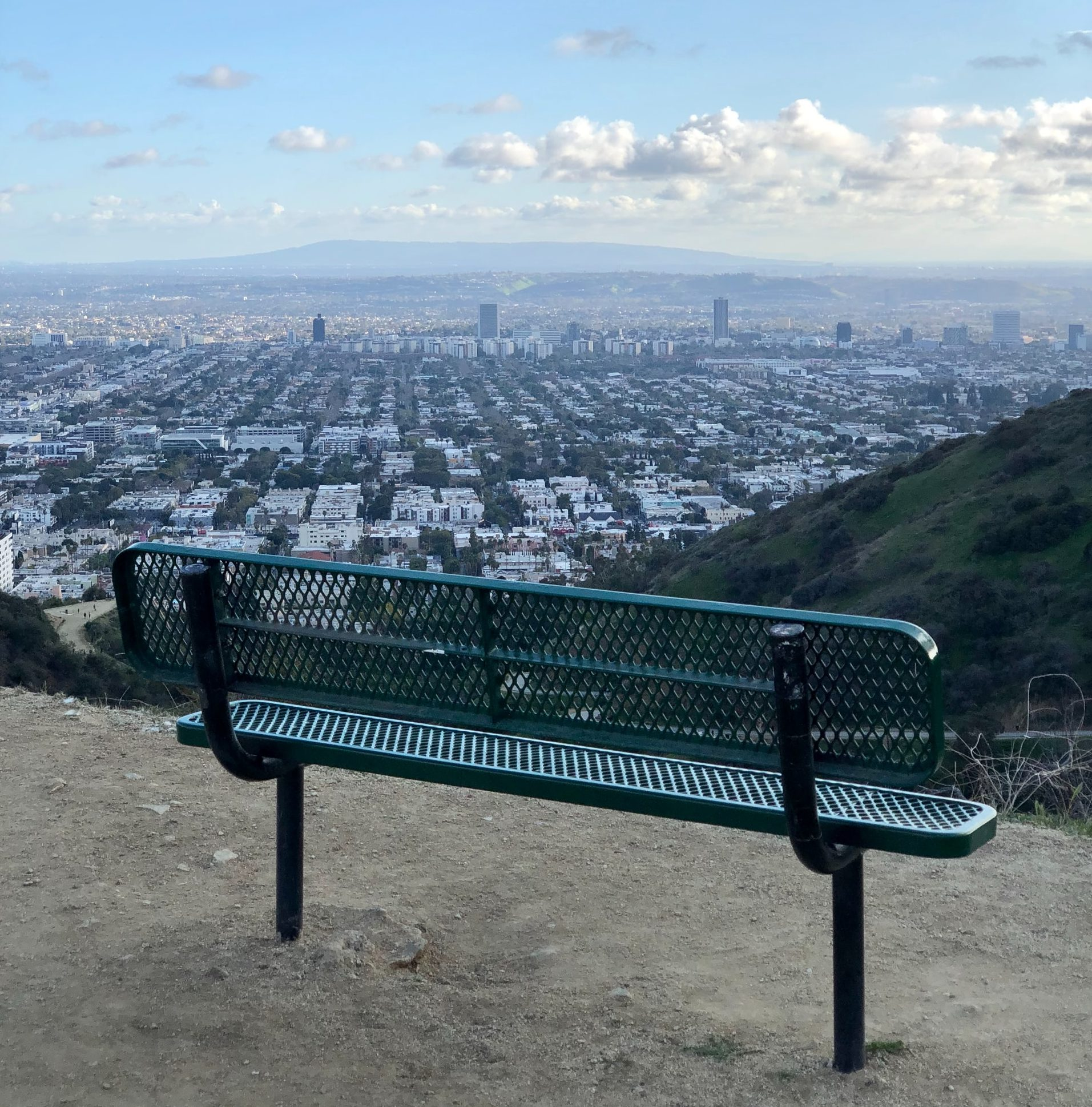 Bench in Runyon Canyon Park with view of LA