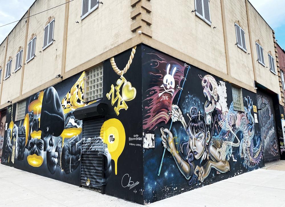 Mural on a corner in Brooklyn NYC