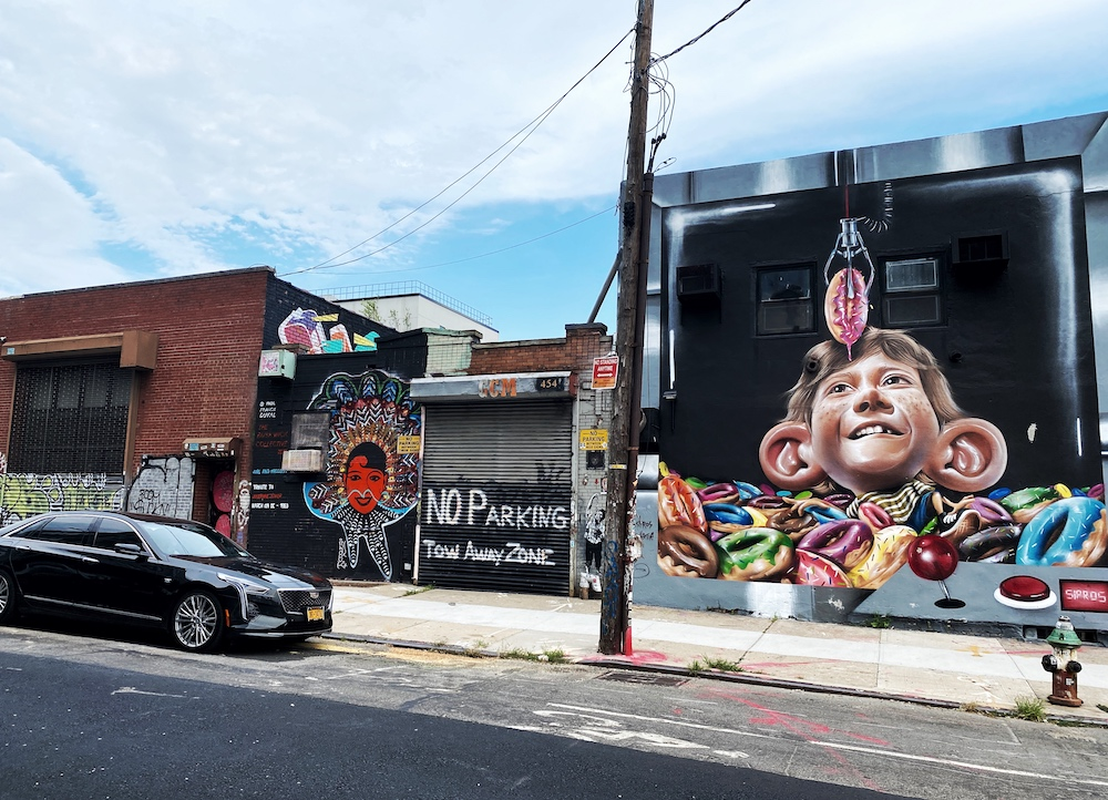 Mural at Bushwick, part of a self-guided walking tour in Brooklyn, New York City