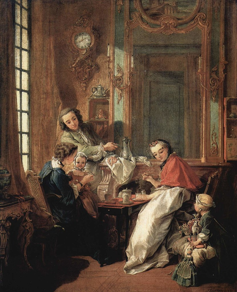 """""""Le Dejeuner,"""" Family eating breakfast painting by Francois Boucher at the Louvre"""