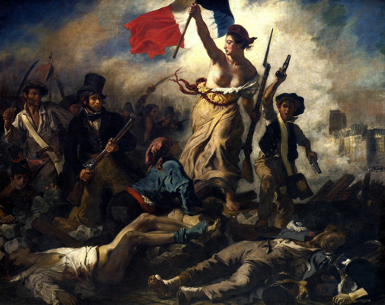 Liberty Leading the People painting on display at the Louvre