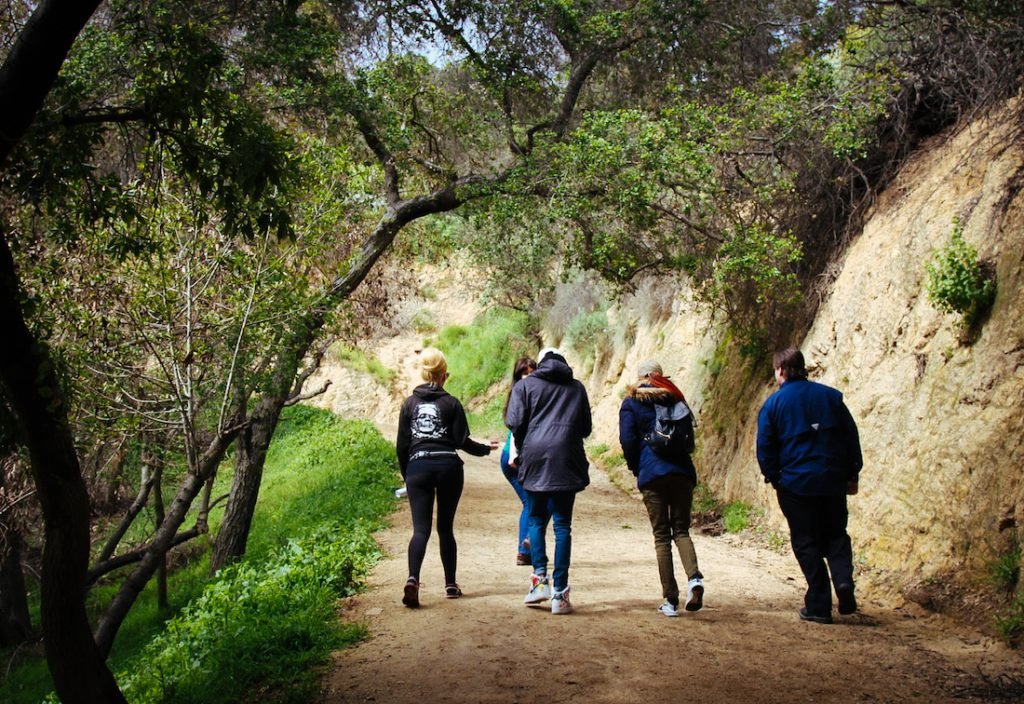 group hiking at the park in Los Angeles