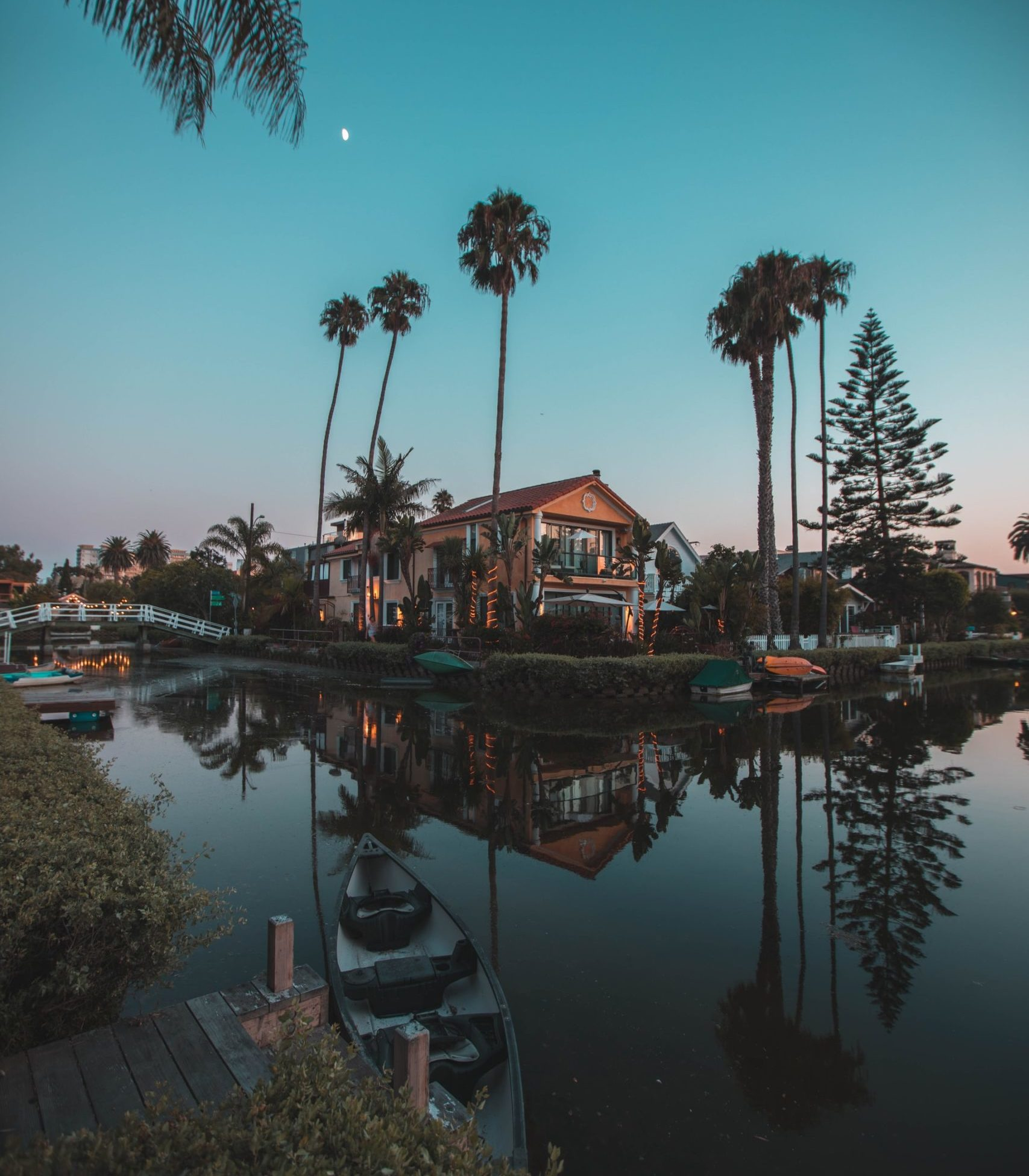 Venice beach canals at night