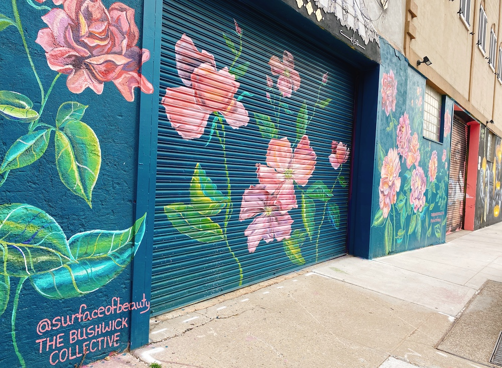 Brooklyn Bushwick Street mural with flowers