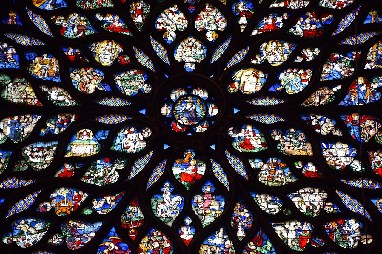 Closeup of Sainte-Chapelle scenes within the stained glass