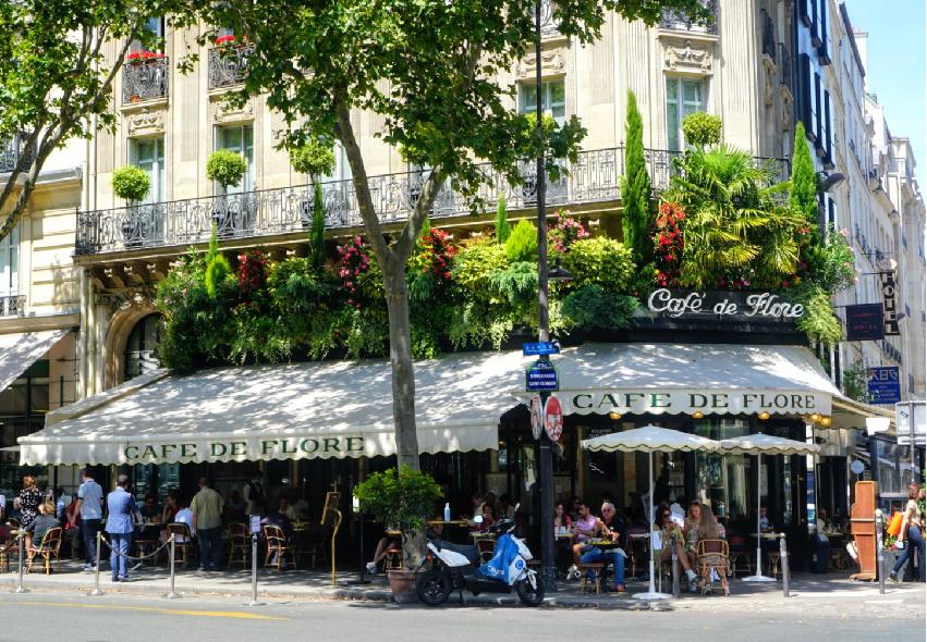 Café de Flore in Saint Germain de Pres in Paris