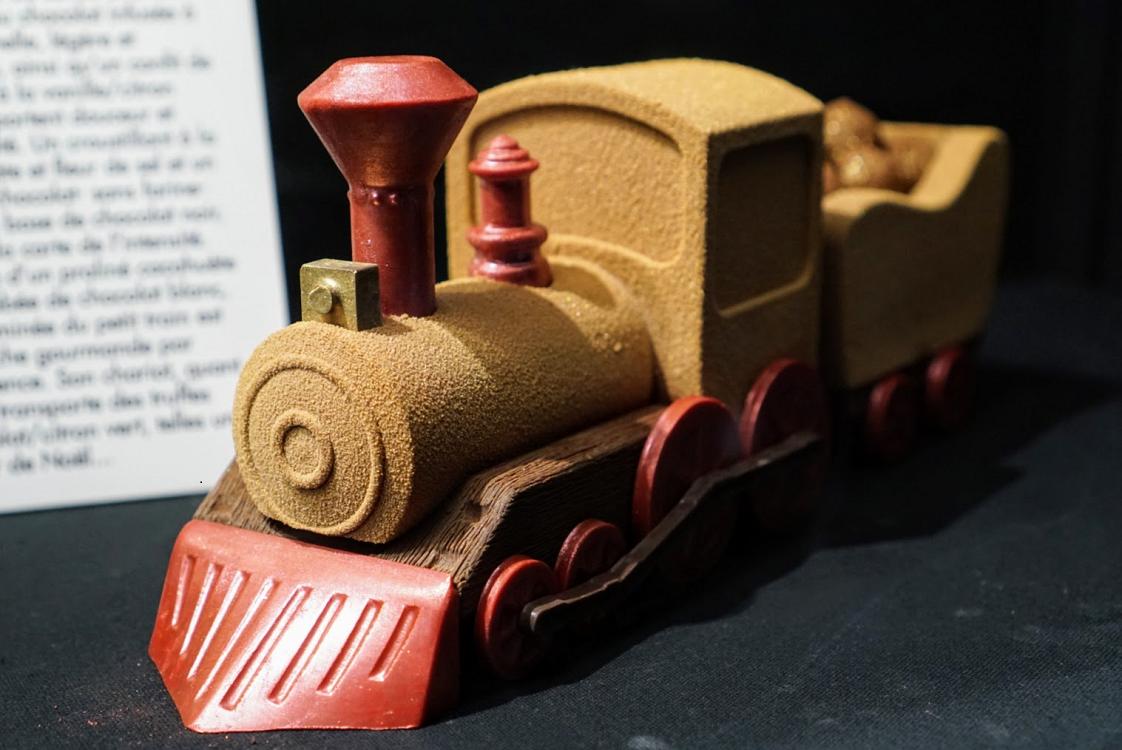 A chocolate train at the Salon du Chocolat in Paris