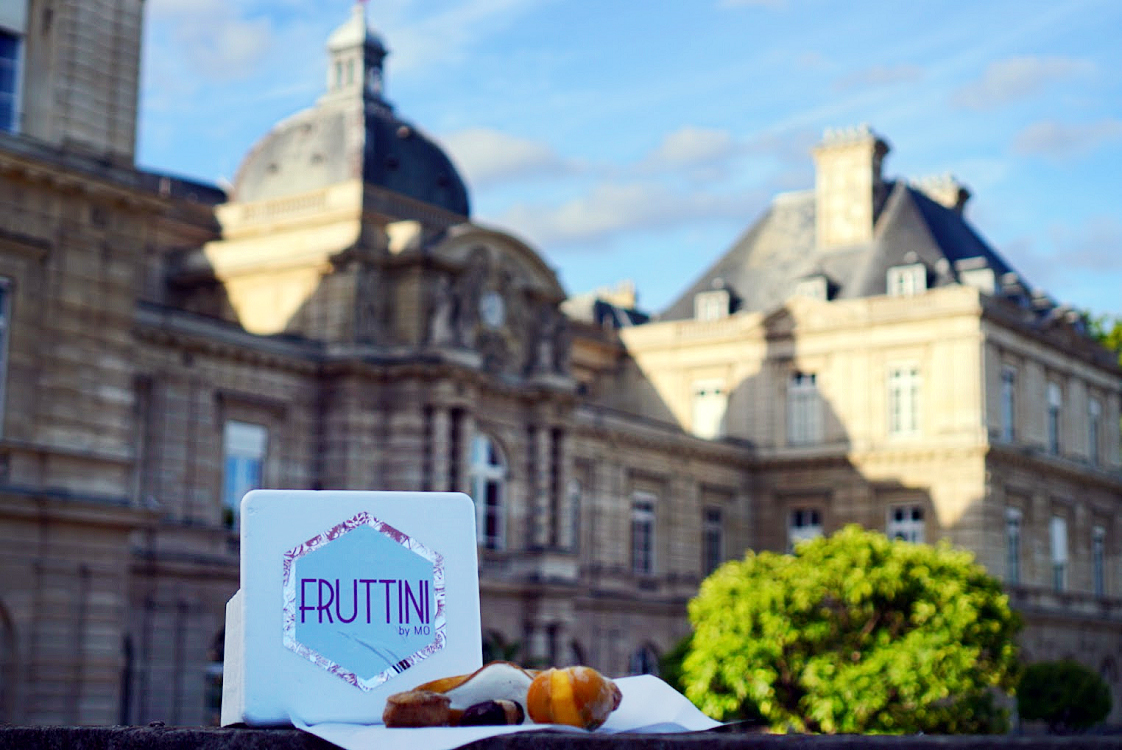 Parisian Fruttini by Mo chocolates in front of the Luxembourg palace
