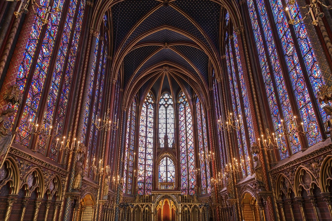Sainte-Chapelle stained glass from inside