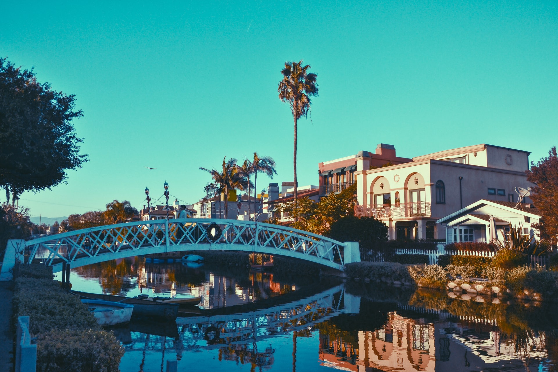 Venice beach canals with bridge over the water