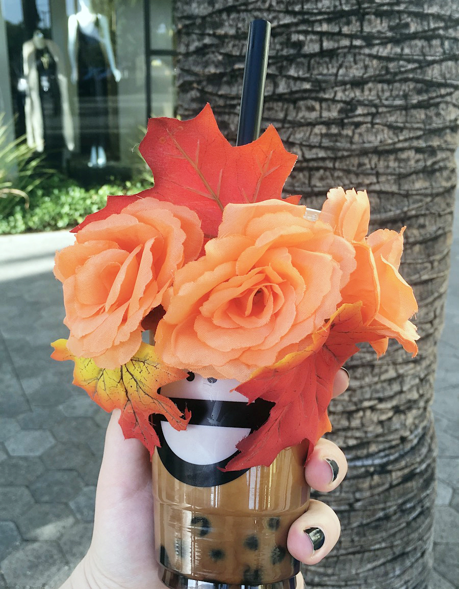 boba tea with flower crown