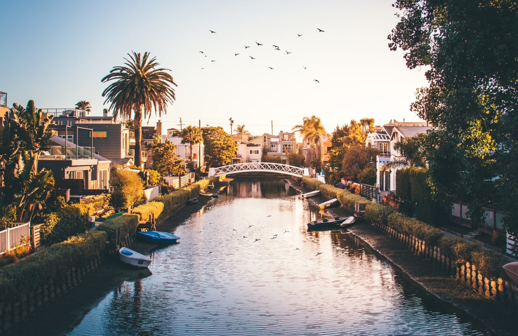 venice canals at dusk