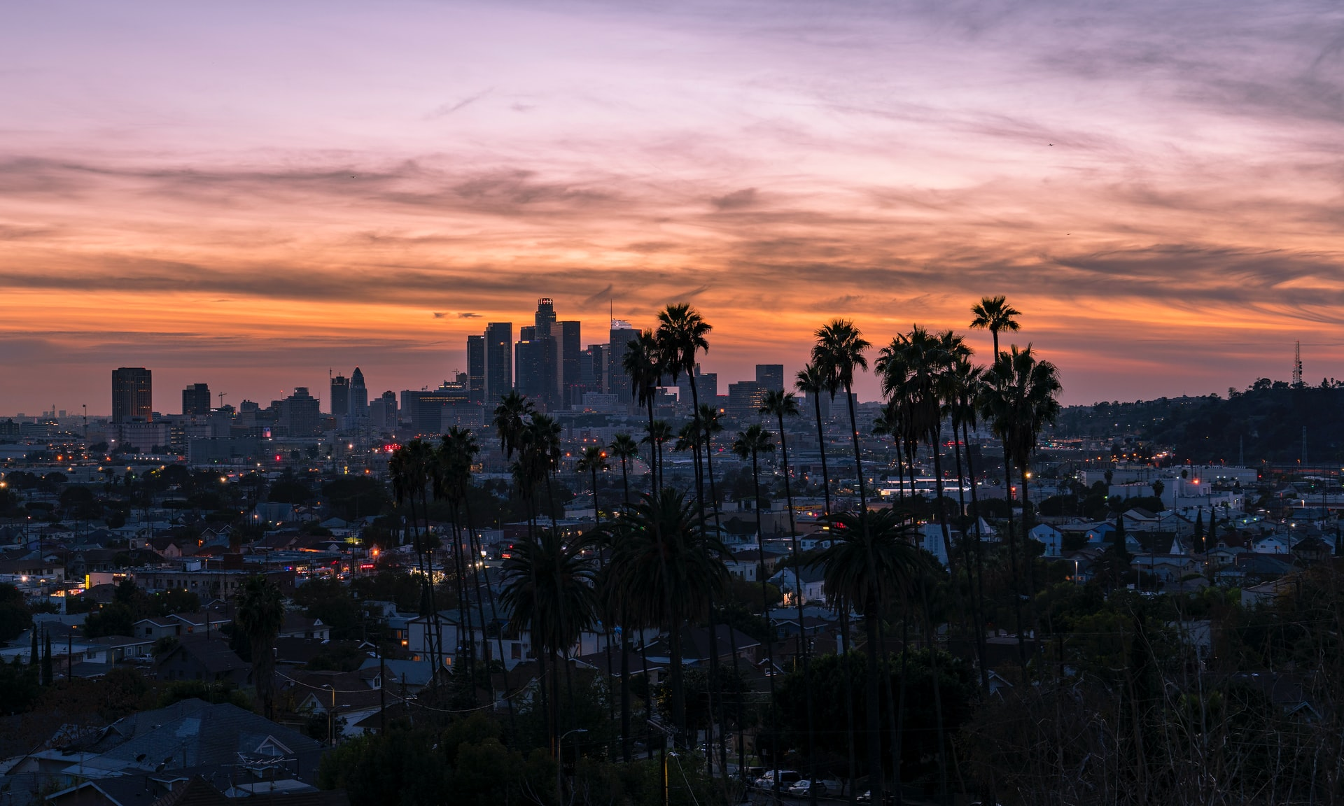 magical sunset view of LA