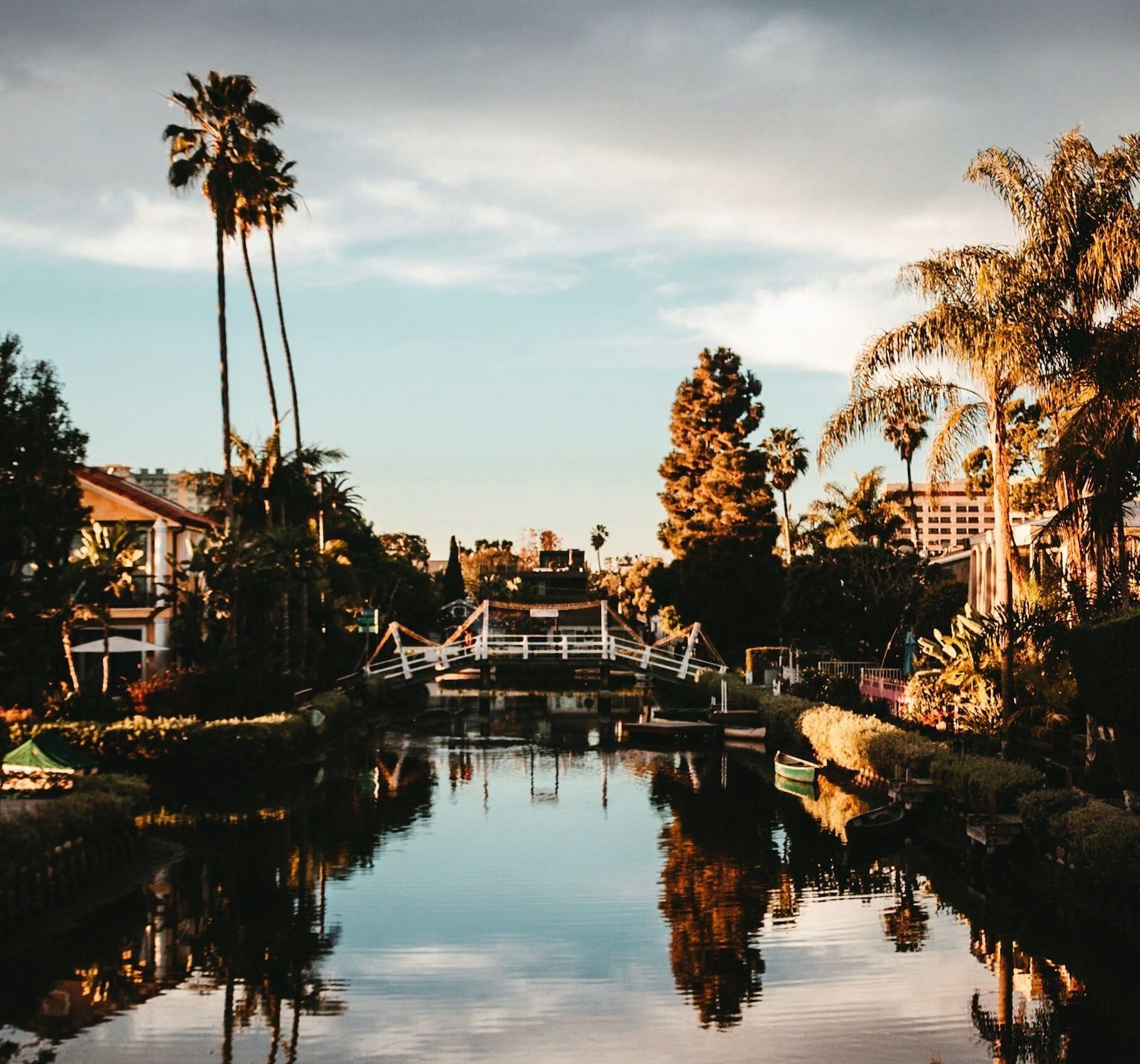 reflection in the venice canals in california