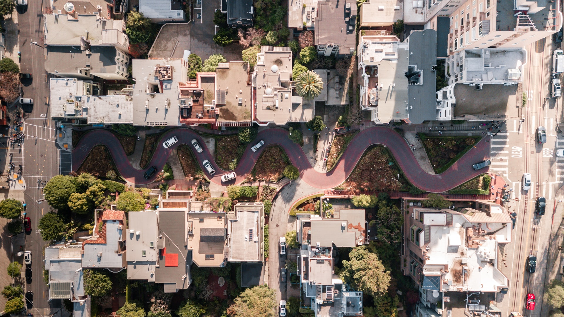 Aerial view of Lombard Street