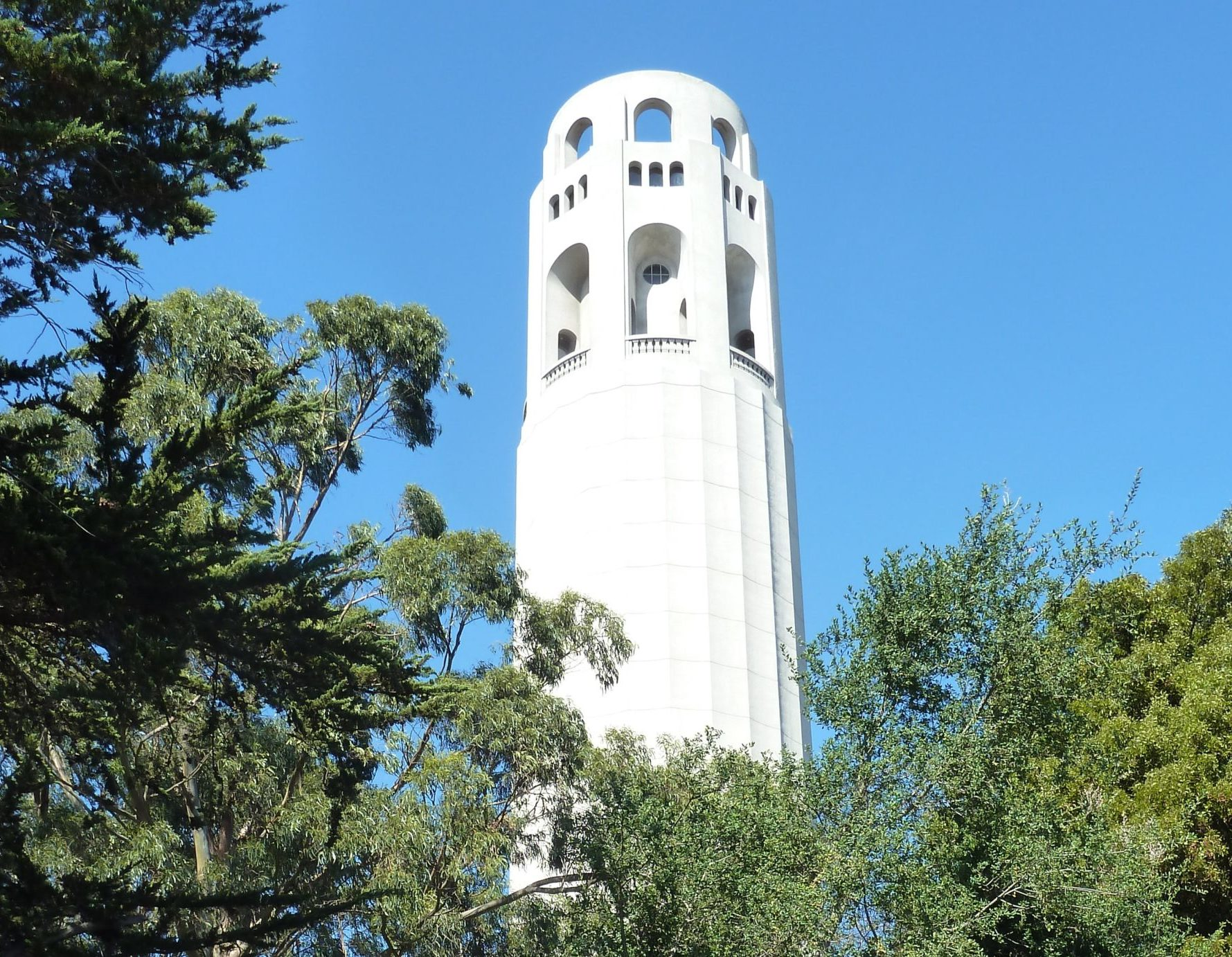 Closeup of Coit Tower in San Francisco