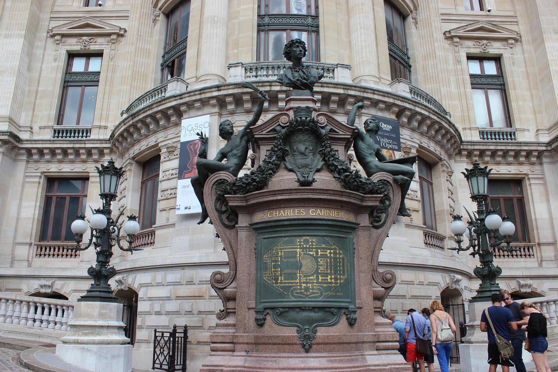 Closeup of the Palais Garnier in Paris