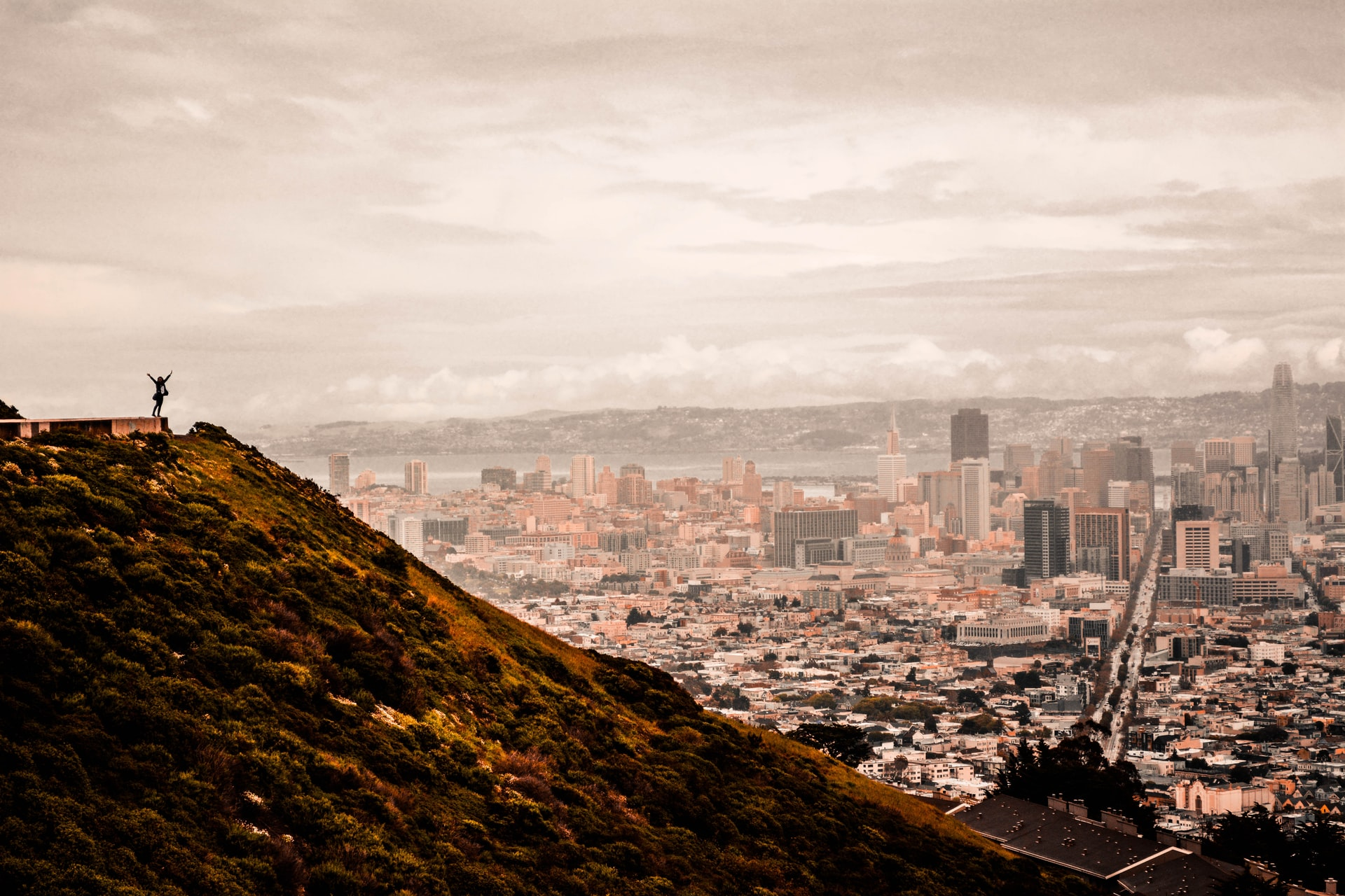 Hiker after climbing Twin Peaks in San Francisco