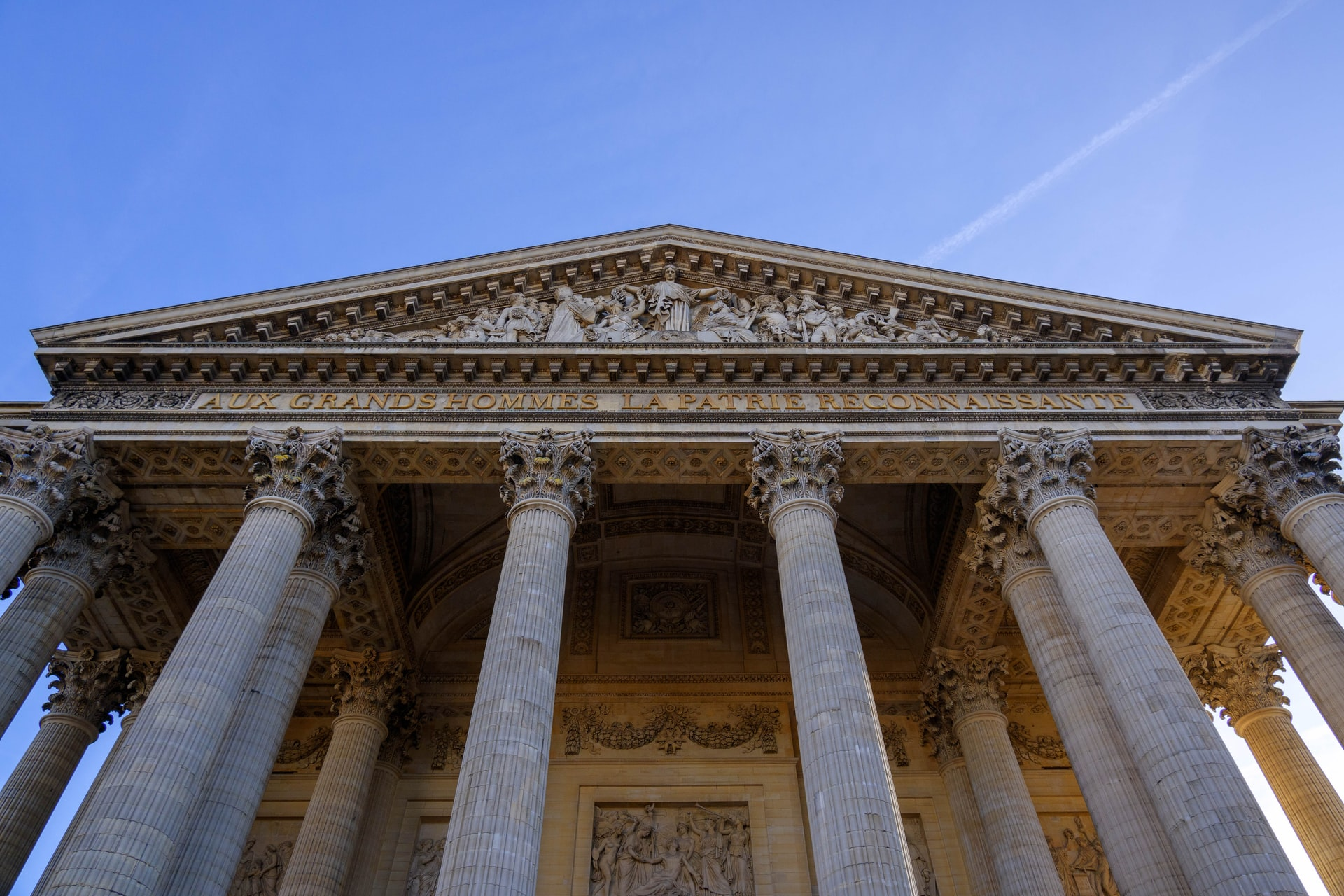 Pantheon columns on the facade at the Place du Pantheon