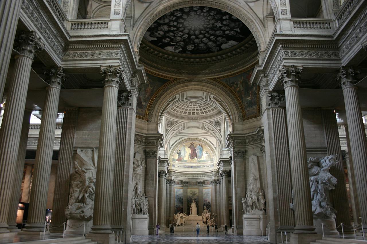 Sculptures and artwork inside the Paris Pantheon