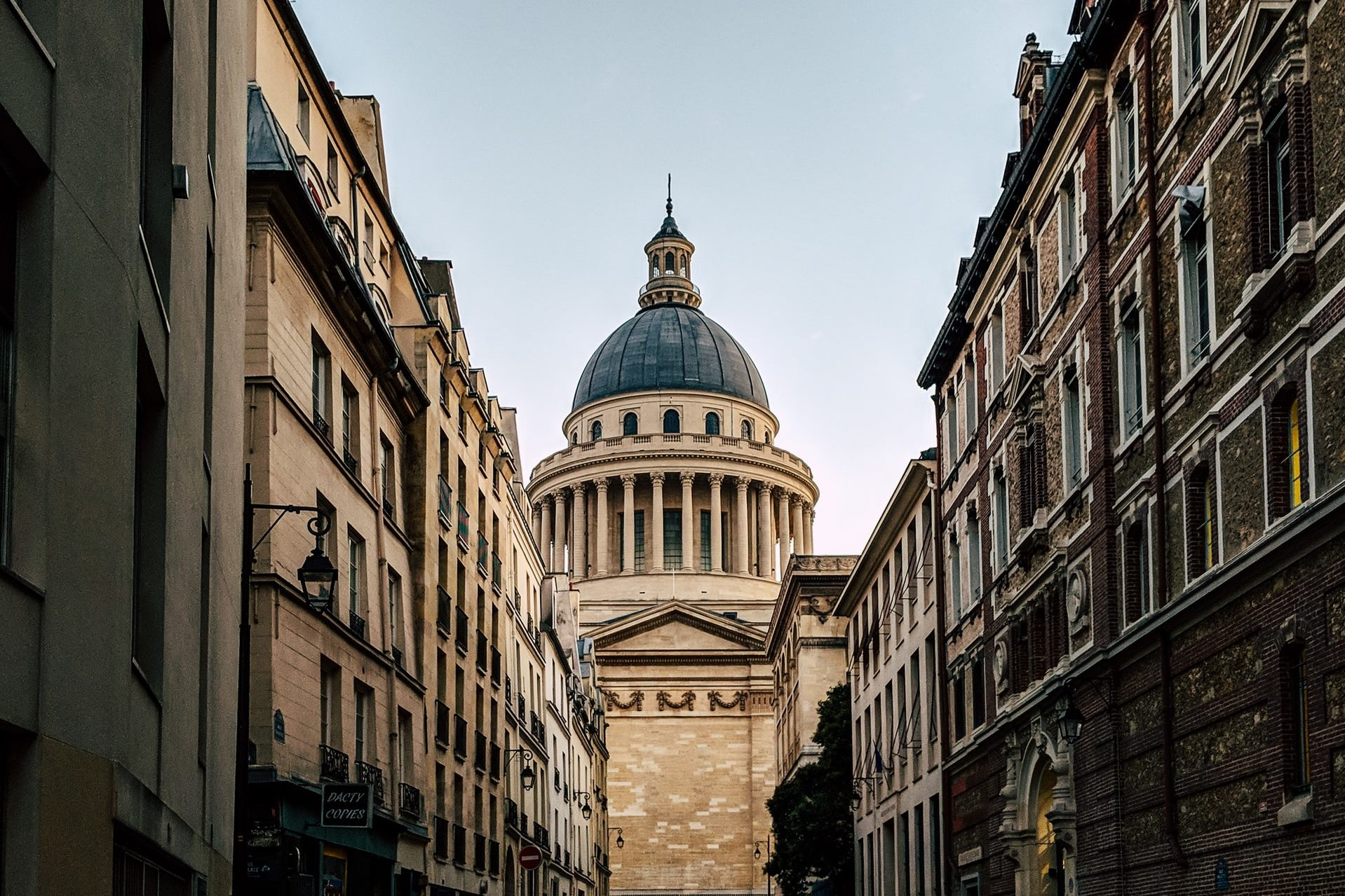 View of the Pantheon in Paris from a side street