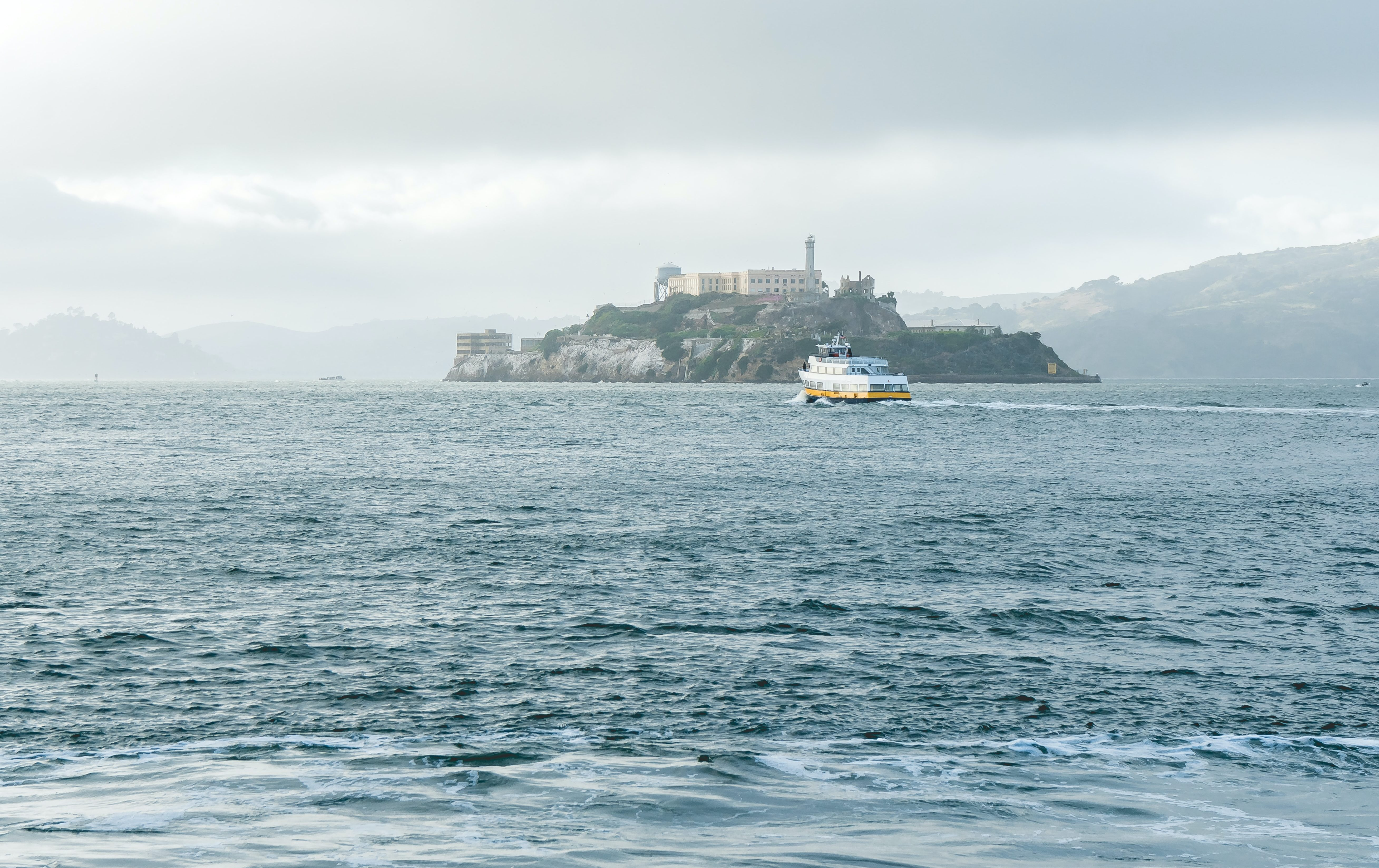 alcatraz island seen from a distance at Fisherman's Wharf