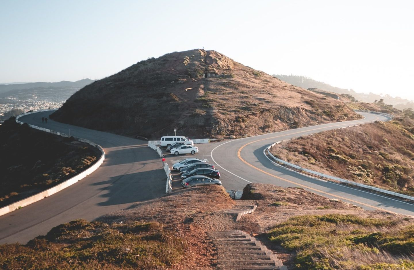 Cars parked on Twin Peaks in San Francisco