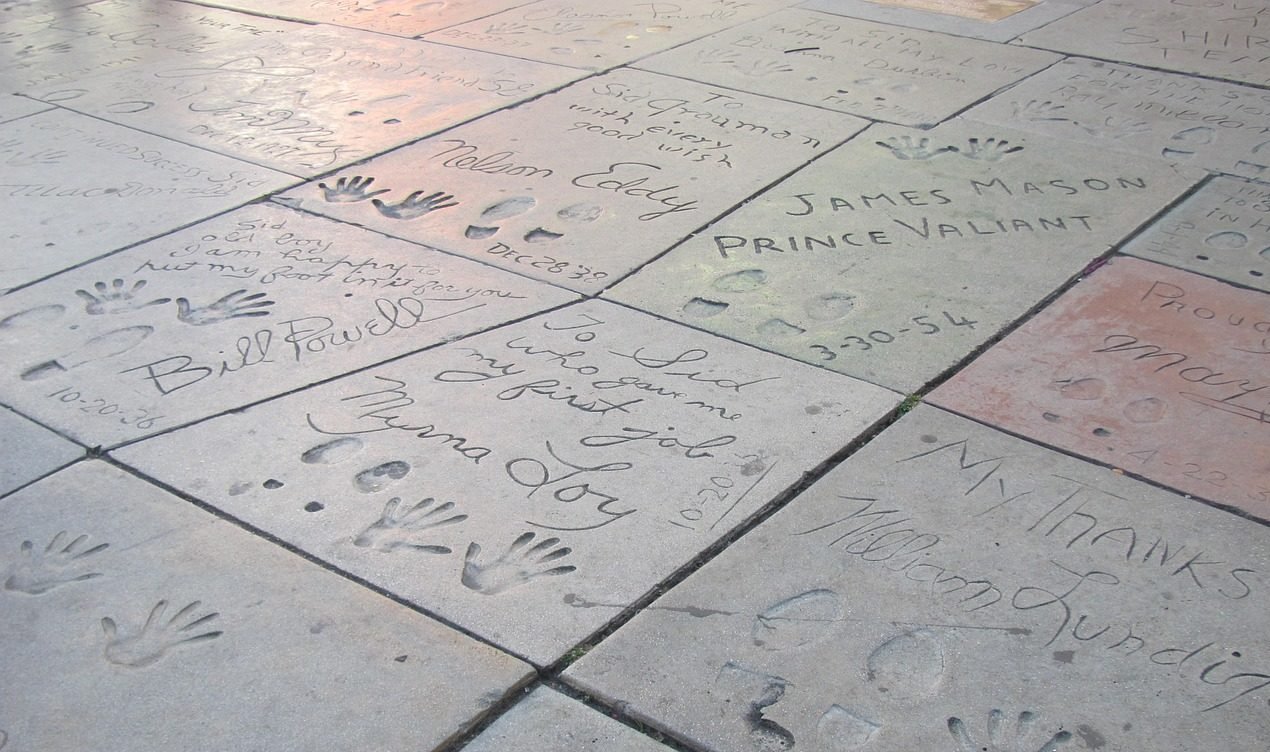 Celebrity handprints and footprints outside Grauman's Chinese Theatre in Los Angeles