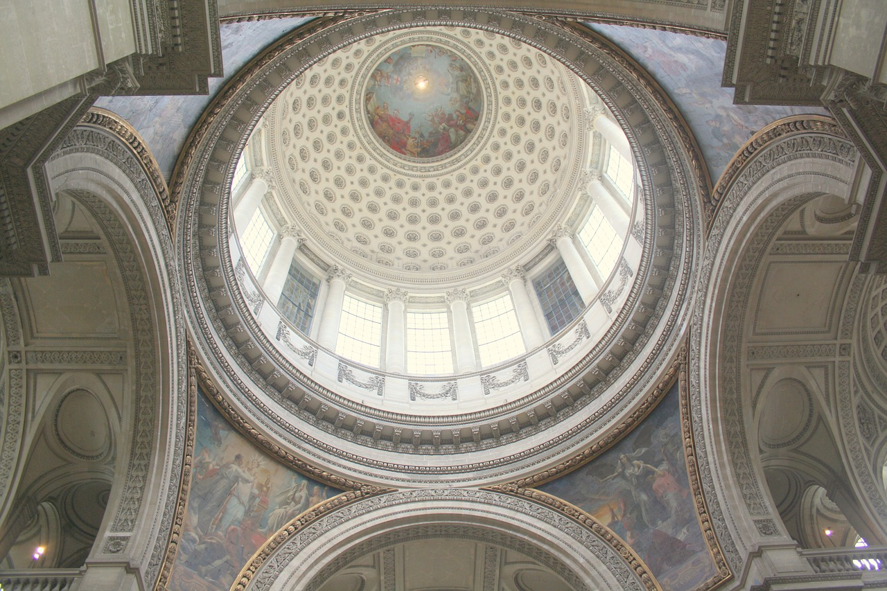 Dome inside the Pantheon in Paris