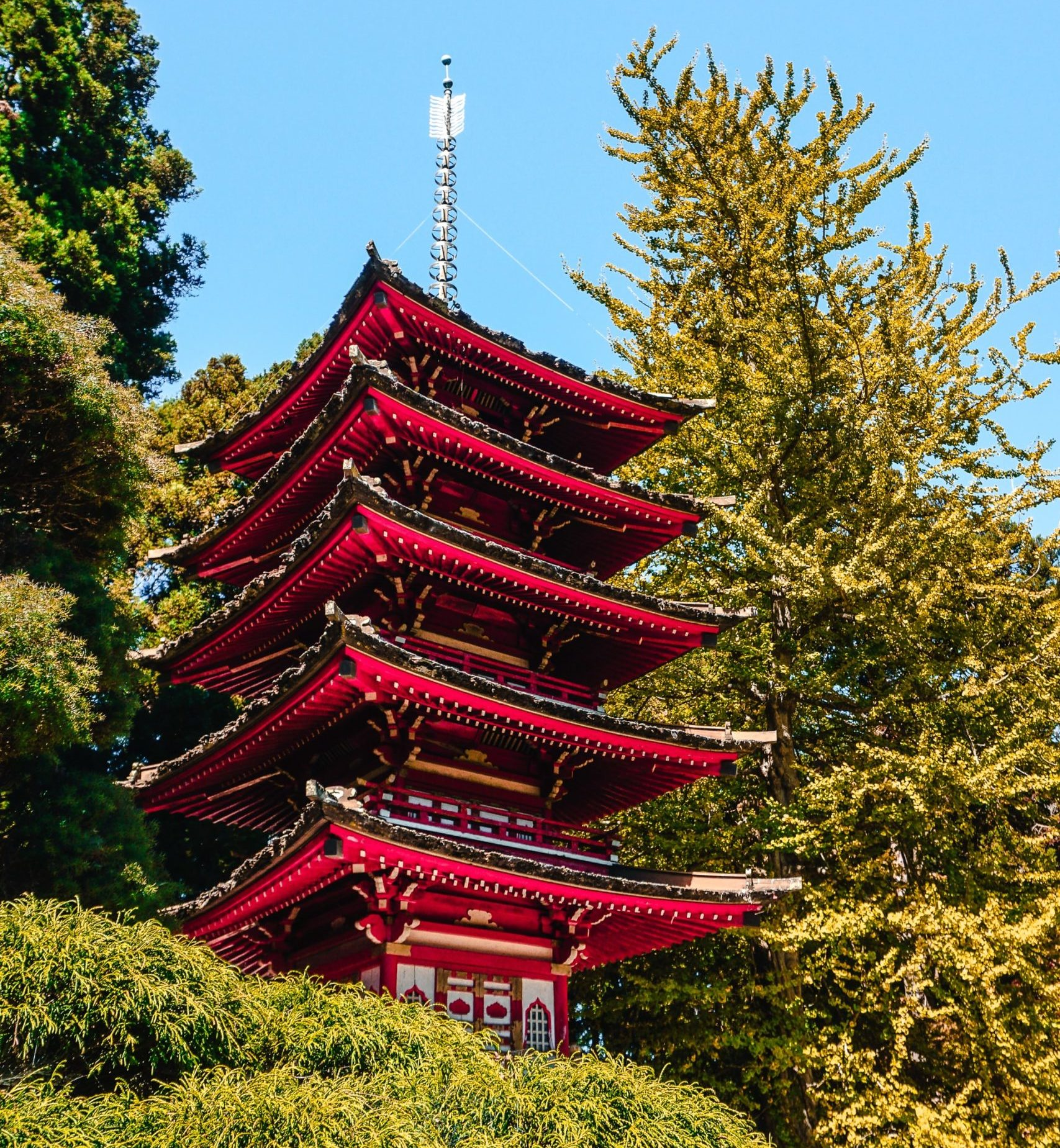 red pagoda at the Japanese Garden, one of several things to do and see in Golden Gate Park