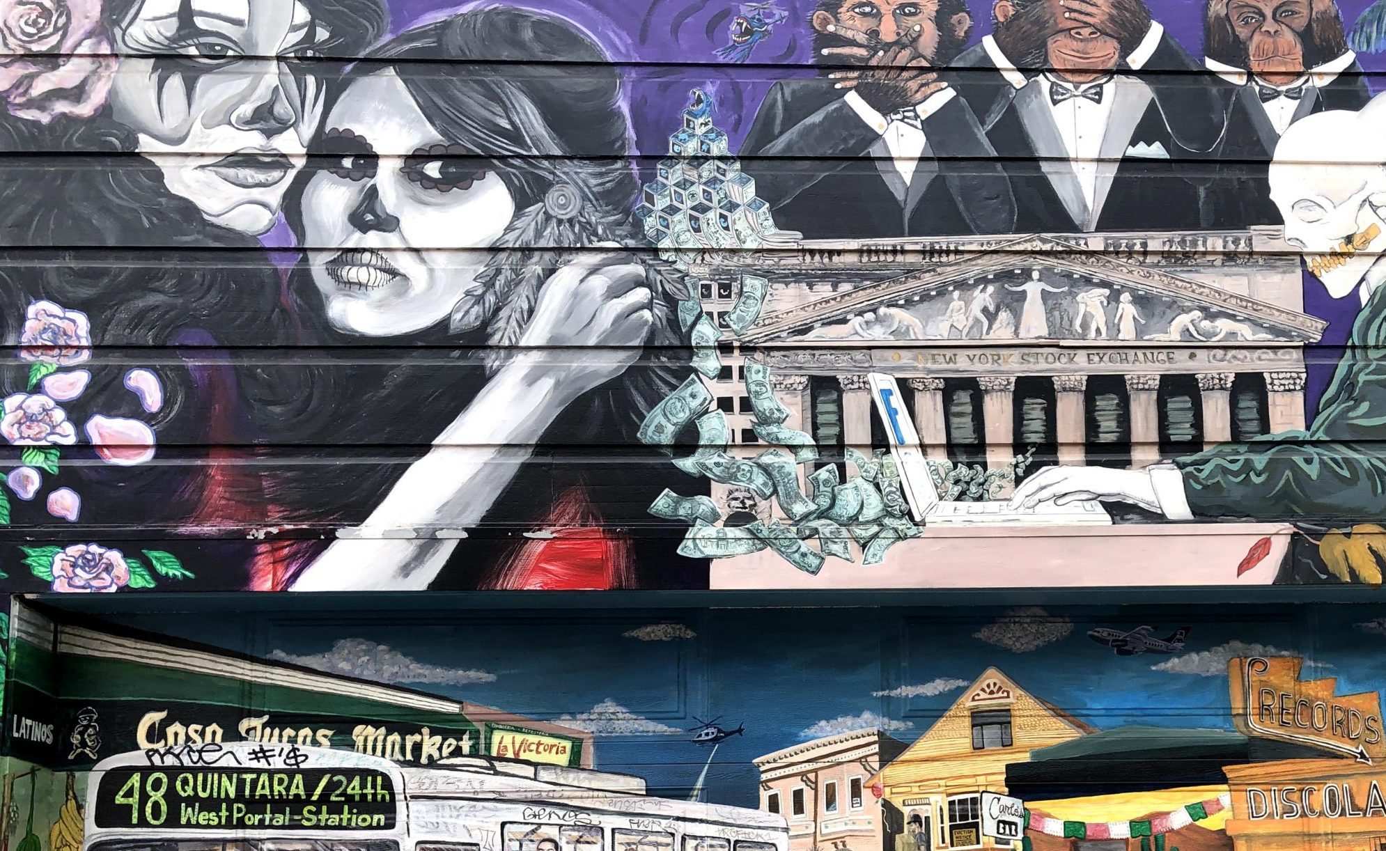 Mission District murals with Latino influence