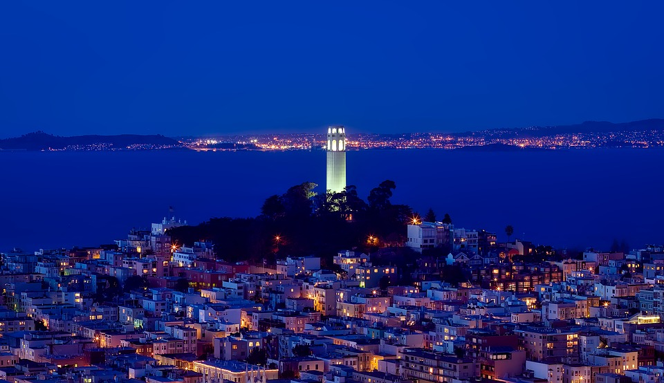 Coit Tower shining at night