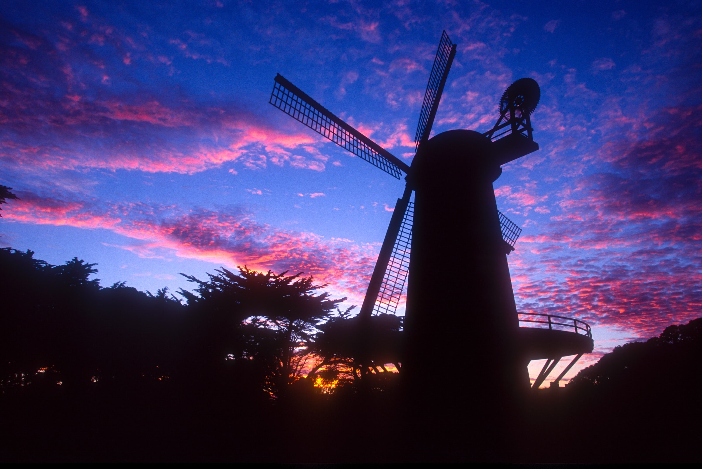 Dutch Windmill at sunset in Golden Gate Park