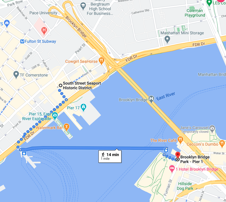 Google Map of a ferry to Brooklyn Bridge from Wall Street