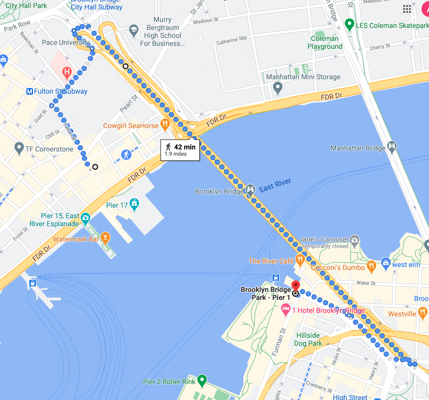 Google Map of your walk across Brooklyn Bridge for the one-day NYC itinerary